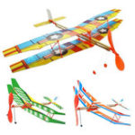 Оригинал DIY Ручной бросок Flying Glider Plane Toy Elastic Rubber Стандарты Приводной самолёт Модели для сборки самолетов