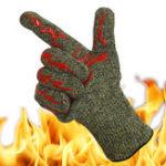Оригинал Высокотемпературнаязащитнаяперчатка500°Барбекю Огнестойкая противоскользящая изоляция барбекю Водонепроницаемы Жаропр