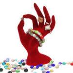 Оригинал 1Pcs Black / Red Velvet Jewelry Дисплей Стенд Кольцо Браслет Ожерелье Висячие Держатель для рук Показать стойку