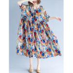Оригинал Женское Хлопчатобумажная печать O-образным вырезом Casual Maxi Платье