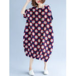 Оригинал Loose Polka Dot Batwing Sleeve Карманы Bud Платье