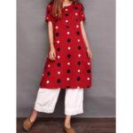 Оригинал Женское Модные короткие рукава Polka Dot Loose Платье