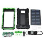 Оригинал 2 USB Водонепроницаемы DIY Солнечная Power Bank Shell Чехол с LED Лампа Компас Climbing Buckle