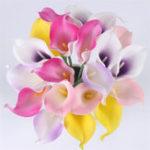 Оригинал NaturalRealTouchFlowerBouquetCalla Lily Свадебное Декоративный поддельный цветок для домашнего праздника Фестиваль декора 8 цветов Искусст