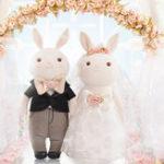 Оригинал Metoo 1 Pair 2pcs Свадебное Rabbit Кукла 19 * 38CM Soft Наполненные игрушки для любителей Симпатичные сладкие мультфильмы