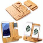 Оригинал Деревянный разъемный настольный зарядный док-кабель Органайзер Подставка для телефона для iPhone Apple Watch