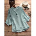 Оригинал Женское Винтаж V-образным вырезом Half Sleeves Блузка с кнопкой