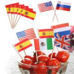 Оригинал Honana50шт/лотмини флага фруктовый зубочисток бумажный фланг продовольственный выбор пирожные зубочистки кекс фруктовые пал