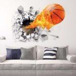 Оригинал Мода3Dбаскетболстеныстикерзеленый плакат искусства наклейки Дети комнаты Домашнее украшение аксессуары Декор съемный Во