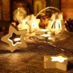 Оригинал 1.65M10LEDsДеревяннаязвездаРождественскаяелка Shaped Батарея Powered String Garland Lights LED Праздничные огни Праздник Свадебное Party Room Decoration