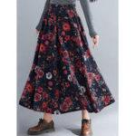 Оригинал Богемианская цветочная высокоэластичная талия с рисунком Макси юбка