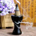 Оригинал Керамический Black Backflow Incense Cone Burner Holder Mini Buddhist Home Ароматный декор