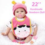 Оригинал Силиконовый 22inch Reborn Baby Dolls Girl Lifelike Baby новорожденный кукла ручной подарок