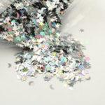 Оригинал 100 г Серебро С блестками для эмульсионной краски Блестящие звезды Луны Радужные украшения