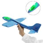 Оригинал 48cm Ручной запуск метательного самолета Самолет-планер DIY Инерциальная пенная игрушка с планетарной платформой EPP со светодиодной подсветк