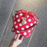Оригинал ЖенскоеFauxLeatherWavePointBucket Сумка Дизайнерская сумочка
