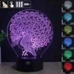 Оригинал Peacock 3D Acrylic LED Mood Night Light 7 Цветной сенсорный USB-стол Лампа Прекрасный подарок для ребенка
