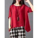 Оригинал Plus Размер Женское Нерегулярный чехол Чистый цвет Свободная блузка