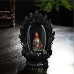 Оригинал Керамический Блондистость Благовония Конус Горелка Божественность Гуаньинь Будда Буддистская кадильница Ароматная печь