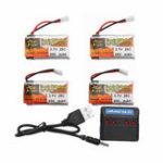 Оригинал 4Pcs ZOP POWER 3.7V 650mAh 25C 1S Lipo Батарея JST Plug с зарядным устройством для моделей RC