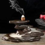 Оригинал Backflow Incense Cone Burner Holder Rocky Buddhist Mountain Home Fragrant Censer Decor
