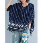 Оригинал Повседневная Женское Полосатая овальная рубашка с капюшоном