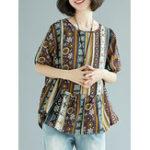 Оригинал Этническая Женское Цветочная печать Асимметричная блузка O-образным вырезом