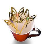 Оригинал KCASAЧайЛожкаизалюминиевогосплава Кофейная ложка Capitellum Трехмерная бабочка Кофейная ложка Элегантная смешающая ложка