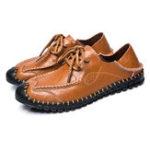 Оригинал МужчиныSoftНатуральнаяКожаПлоскиелайнеры зашнуровать кожаные ботинки