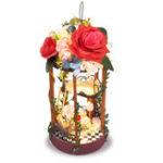Оригинал T-Yu DIY Наборы DollHouse Висячие цветочные корзины Украшение Миниатюрный дом кукол со светом