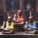 Оригинал Purple Clay Backflow Incense Cone Burner Holder Симпатичный Monk Ароматный Дымный Обратный Каскад