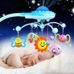 Оригинал 0-12 месяцев Детская кроватка Мобильная музыкальная кровать Белл с животными Rattles Projection Cartoon Early Learning Toys