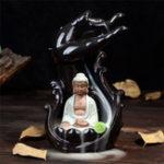 Оригинал Керамический Подставка для кастрюли с обратным потоком Будда Дзазен Ароматная конусная кадильница Home Furnace Decor