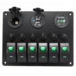 Оригинал 12V-24V 6 Gang Водонепроницаемы LED Вольтметр с переключателем качалки Батарея Авто Marine Лодка