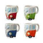 Оригинал Творческаяручнаяросписьмультяшныхдвойныхавтобусных кружек Ретро Керамический Кубок кофейного молока Чай Кружка Drinkware No