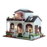 Оригинал DIY Bowness Town Миниатюрные деревянные Кукла Мебель для дома Модель Светодиодный Игрушки Подарочные