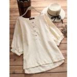 Оригинал Женское Мода O-образным вырезом Puff Sleeves Stripe Blouse
