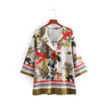 Оригинал Фольк-стиль Floral Print V-neck 3/4 Sleeve Blouse