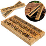 Оригинал Bamboo Incense Burner Коробка Ящик Магнит Благовония Lore Hollow Carving Cover Burner Censer Holder
