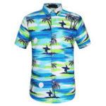 Оригинал TWO-SIDED Праздник Гавайский Кокос Дерево Печать Пляжный Рубашка