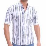 Оригинал Мужскаялетняямодасвертикальнымполосатым дизайнером печати Рубашка