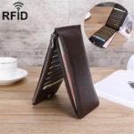 Оригинал RFIDАнтимагнитныемужчиныНатуральнаяКожаБизнес Повседневные 20 слотов для карт 5.5 дюймов Телефон Сумка Длинный кошелек