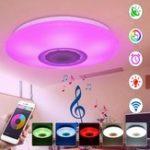 Оригинал RGBW APP / Управление голосом Dimmable Bluetooth Динамик LED Светильник потолочного освещения Работа с Goole Alexa