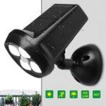 Оригинал Водонепроницаемы IP65 4 LED Солнечная Светло-яркое движение Датчик Пейзажная стена Лампа для Сад На открытом воздухе