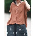 Оригинал Женщины Vintage Side Сплит хлопок льняная блузка