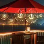 Оригинал Солнечная Powered 200LED 8 Режимов DIY Фейерверк Висящий Starburst Фея String Рождественский праздничный свет