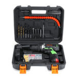 Оригинал AOTUO 12V Li-Ion Cordless Power Drills Набор Electric Отвертка Single / Double Speed 2 Батарея
