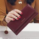 Оригинал ЖенскоеМодныйтелефонСумкаИскусственнаякожа Многофункциональный длинный кошелек 9 слотов для карт памяти Сумка