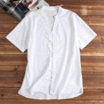 Оригинал ДВУСТОРОННЕЕ Мужчиныs V-образным вырезом Твердый цвет с короткими рукавами Хлопковые рубашки