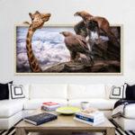 Оригинал MiicoCreative3DGiraffeEaglesFrame ПВХ Съемная домашняя комната Декоративная настенная декорация наклейки